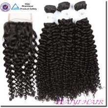 New Arrival New Type Eurasian Kinky Curly Hair Weaving With Lace Closure Bleached Knots Free Style