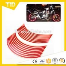 """Garniture de décalque de bande de roue de bande réfléchissante rouge de 8mm pour la voiture de moto 16 """"17"""" 18 """""""