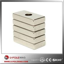 Imán de lujo Cubo del neodimio / N45 NdFeB Bloque del imán F20x10x20m m Agujero: imán de 10m m / barato Cubo del neodimio China