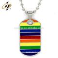Fashion Men Custom Rainbow LGBT Dog Tag Pendant Necklace Stainless Steel Choker Gay Lesbian Hip Hop Necklace