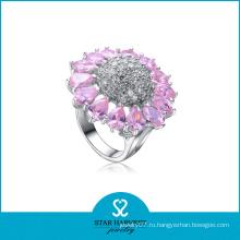 Розовый цветок в форме кристалла Серебряное кольцо (SH-R-0054)