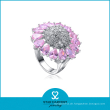 Rosa Blumen-geformter Kristall-Silber-Ring (SH-R-0054)
