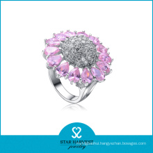 Costume White&Pink CZ Silver Ring for Women (SH-R0054)