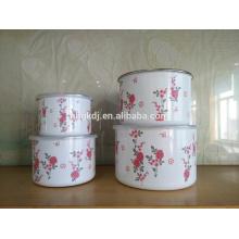 4 PCS Esmalte Rosa Vermelha Decalque Storage Bowl Aço Carbono Pode