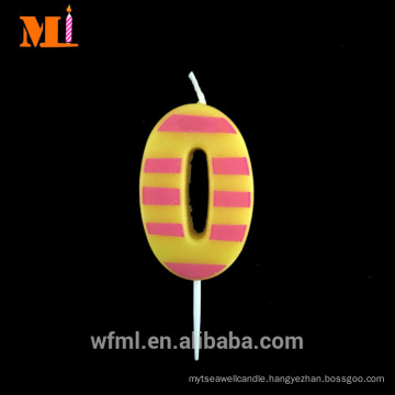 All Grades Pure Paraffin Light Pink Stripe Printed Mini Number Candle Zero For Sale