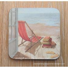Custom Design Printing Promotional MDF Cork Cup Coaster 4 Coaster Pad