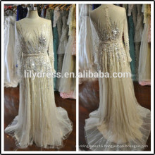 Transparent Beading Customized Prom Party Evening Dresses Vestidos PD035 plus size formal dresses long sleeve