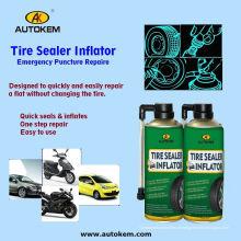 Tire Sealer Inflator Pulverizador Spray de reparação de pneus, vedador de pneus e Inflator 400ml / 500ml Amostra grátis