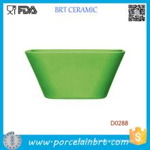 Großhandelsgrün-quadratische keramische Salatschüssel