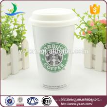 YSm-110 Porzellan 12oz Kaffeetasse mit Deckel für Reise, 12oz Becher