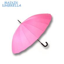 Presentes Promocionais com Logotipo Hotel Venda Quente Personalizado Barato Chuva Auto Aberto 24 Costelas Rosa Reta Guarda-chuva China Fabricante