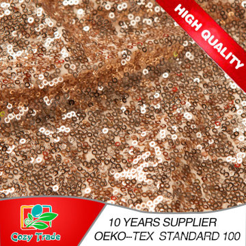 New Wholesale Gold Sequins Fabric, Mesh with Sequins Embroidery Fabric for Party Dress, Decoration, Banquet