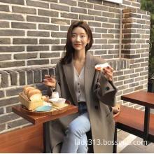 High-end fashionable elegant double-sided handmade cashmere coat
