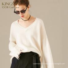 Pull col V en laine de cachemire, à la mode et style sauvage libre, chandail en tricot lâche pour fille
