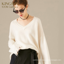 Cashmere Wool Sweater V Neck, Fashionable And Free Wild Style, Loose Knit Sweater For Girl