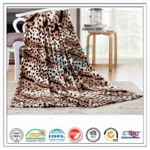 Personalizado 100% poliéster leopardo impreso suave terciopelo coral manta de lana