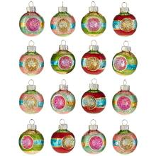 Reflector Glass Ball Hand Painted Printing Vintage Christmas Ornament