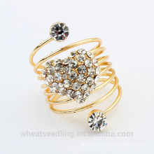 2015 fashion heart design crystal gold plated wedding ring