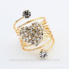 2015 moda coração cristal de design banhado a ouro anel de casamento
