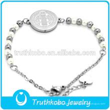 Bijoux religieux de chapelet en acier inoxydable Bracelet de pièces de monnaie Jesus Design Bracelets