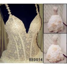 HH0054 Champagner farbige Ballkleid Stoff Blumen für Brautkleider