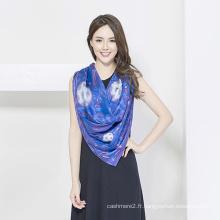 Écharpe en soie de dames de mode, écharpe d'impression numérique