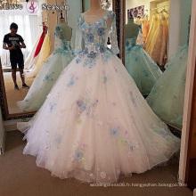LS00102 derniers modèles d'habillement occidentaux pour les femmes robe de balle à queue longue une ligne robes à manches longues robe de mariage mariée