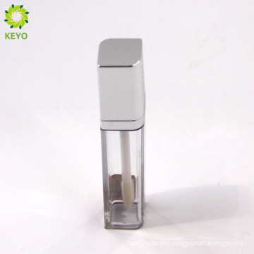 empty cosmetic packaging square clear lip gloss container with silver cap
