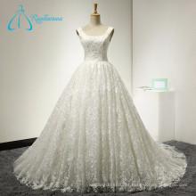 2017 Vestido de noiva sem mangas de cetim de lã noiva Vestido de noiva de verão