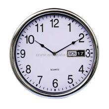 Chrome clock with week and date