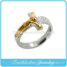 Casting High Quality 316l Fashion Stainless Steel Religious Two Tone Father Jesus Cross Finger Ring Design For Muslim