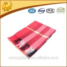 Benutzerdefinierte rote Plaid 100% Merinowolle Schal