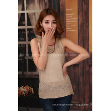 Women Pure Color Sparkle Knitted Vest for Summer