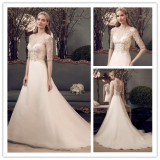 Elegant Half Sleeve Beads A Line Wedding Dress (L10011)