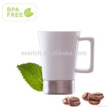 Caneca cerâmica 480ml para café e chá com alça e base de aço inoxidável, BPA FREE