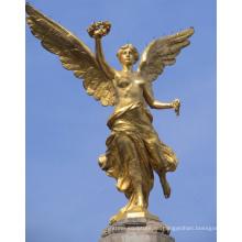 fundición de bronce famosa gran decoración al aire libre estatua del ángel de oro