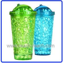 400ml Double Wall Plastic Ice Mug with Straw (R-7031)