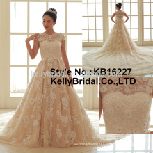 Popular Attractive lace satin armhole skirt with train A-line wedding dress