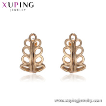 94924 Wholesale simply girl's design jewelry leaf shape no stone 18k gold plated hoop earrings