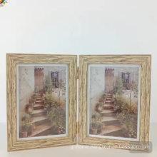 Wooden grain polystyrene frame hinged photo frame