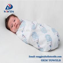 Écolière de haute qualité en mousseline de coton bébé swaddle couverture bébé bambou de bain