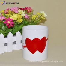 11oz ceramic white magic mug with heart color changing