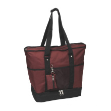 600d Durable Water-Resistance Large Oxford Insulated Lining Tote Bags Function Shopping Bags with Small Purse