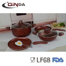 6pcs conjuntos de utensilios de cocina de revestimiento de mármol con inducción