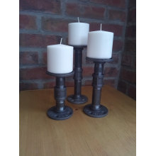 INDUSTRIAL CANDLE HOLDER with Dark Grey pipe fitting
