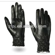 Zf100 venta al por mayor piel de oveja negro motocicleta guantes