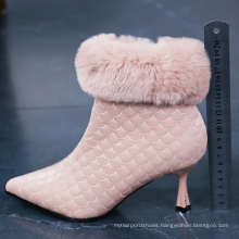 hot sale pointed toe middle heel ankle fur  boot for women big size boot