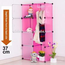 Rosa Kunststoff Kleiderschrank Aufbewahrungsbox Cube mit Kleiderstange Lagerung Verriegelung System Cabinet Organizer Lagerung