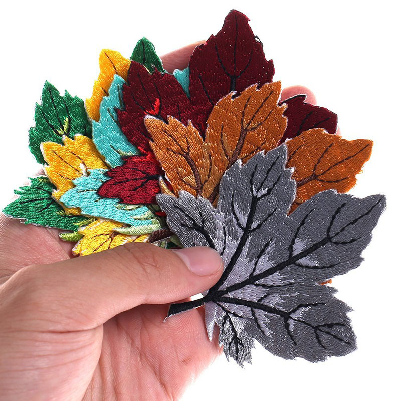Colorful Maple Leaf Embroidery Patch