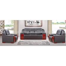 Tamaño grande de cuero ejecutivo negro sofá de oficina conjunto (ks10)